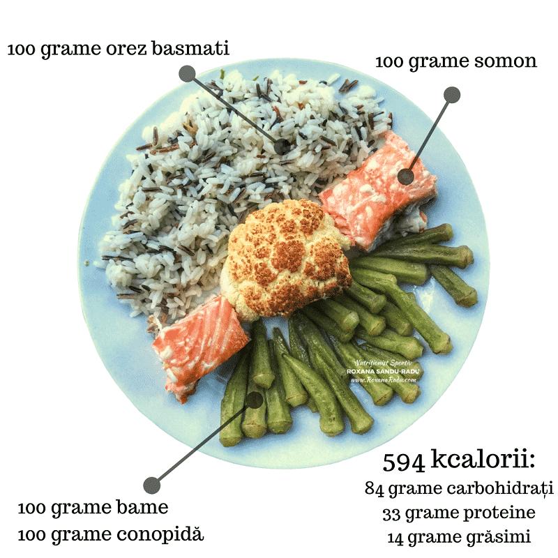 Bame, orez basmatic, conopida si somon