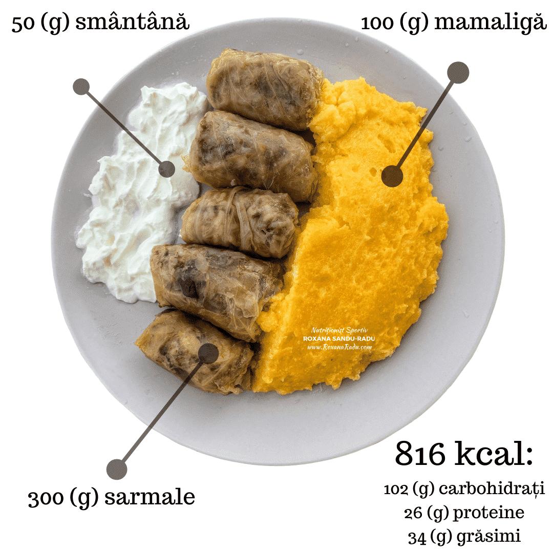 sarmale, smantana si mamaliga, 816 calorii