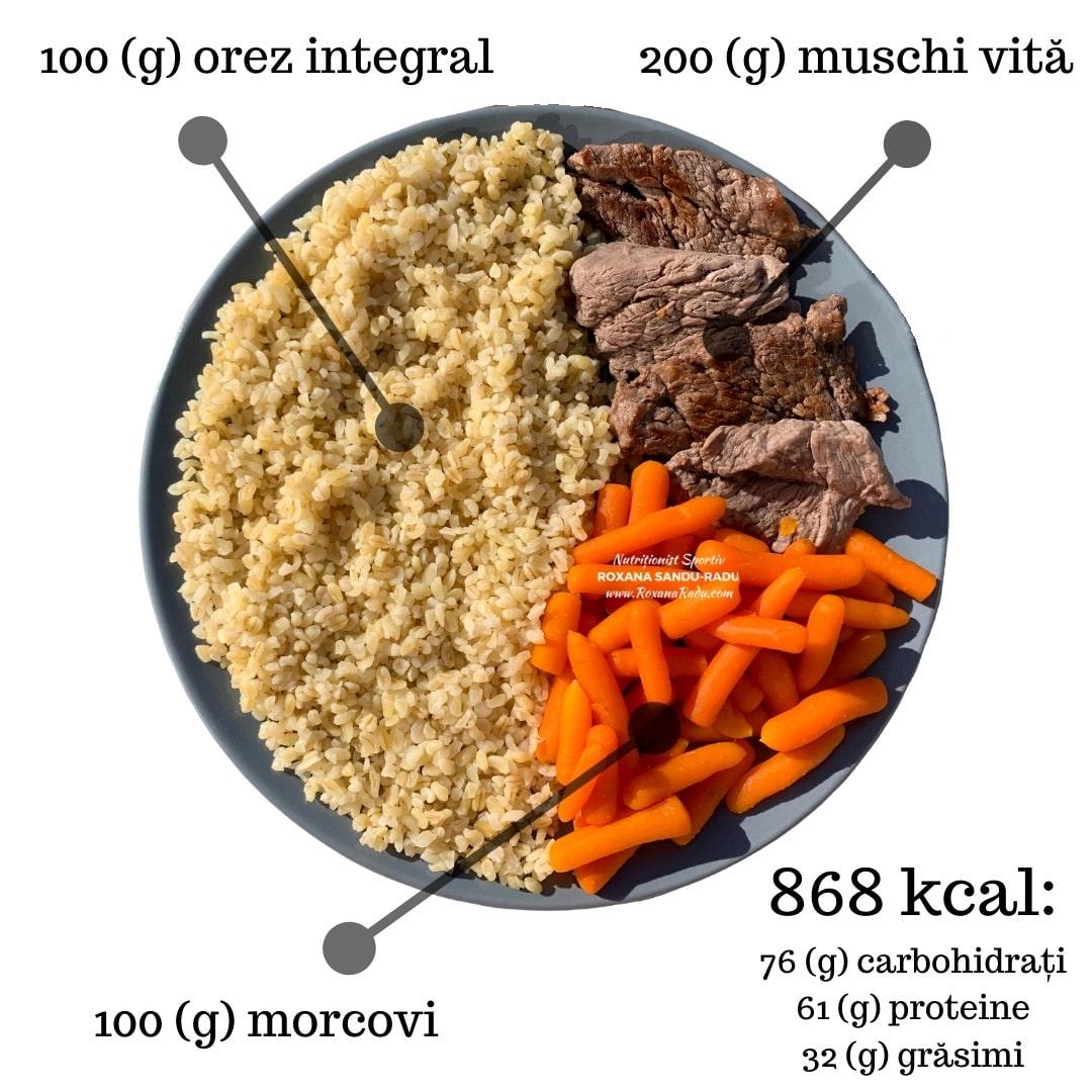 orez integral, muschi de vita, morcovi, 868 kcal