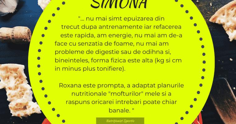 Testimonial nutritie sportiva: Simona