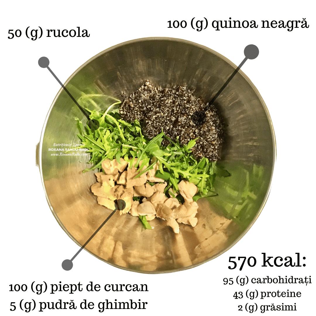 Quinoa neagra, curcan, rucola si ghimbir, 570 kcal