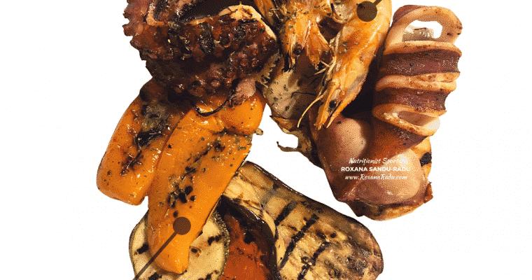 Fructe de mare si legume la gratar, 446 kcal