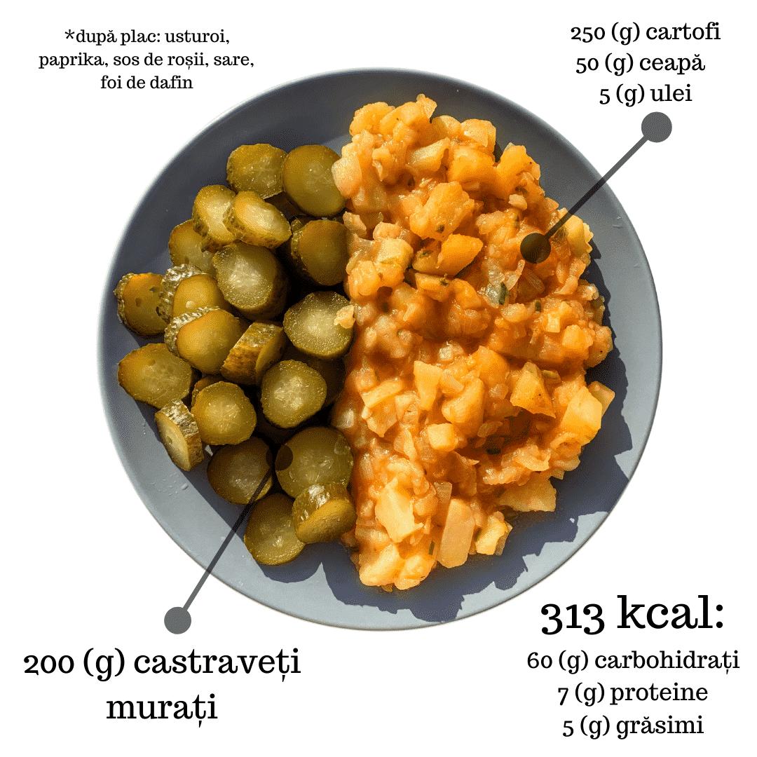 Tocanita de cartofi, castraveti murati, 313 kcal