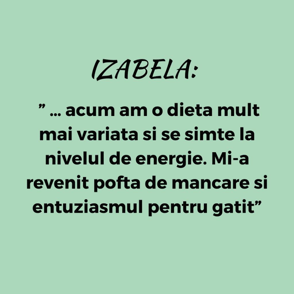 Testimonial Nutritie, Izabela