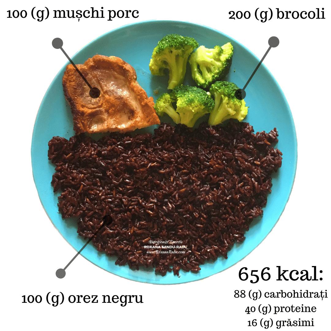 orez negru, muschi de porc, brocoli, 656 kcal