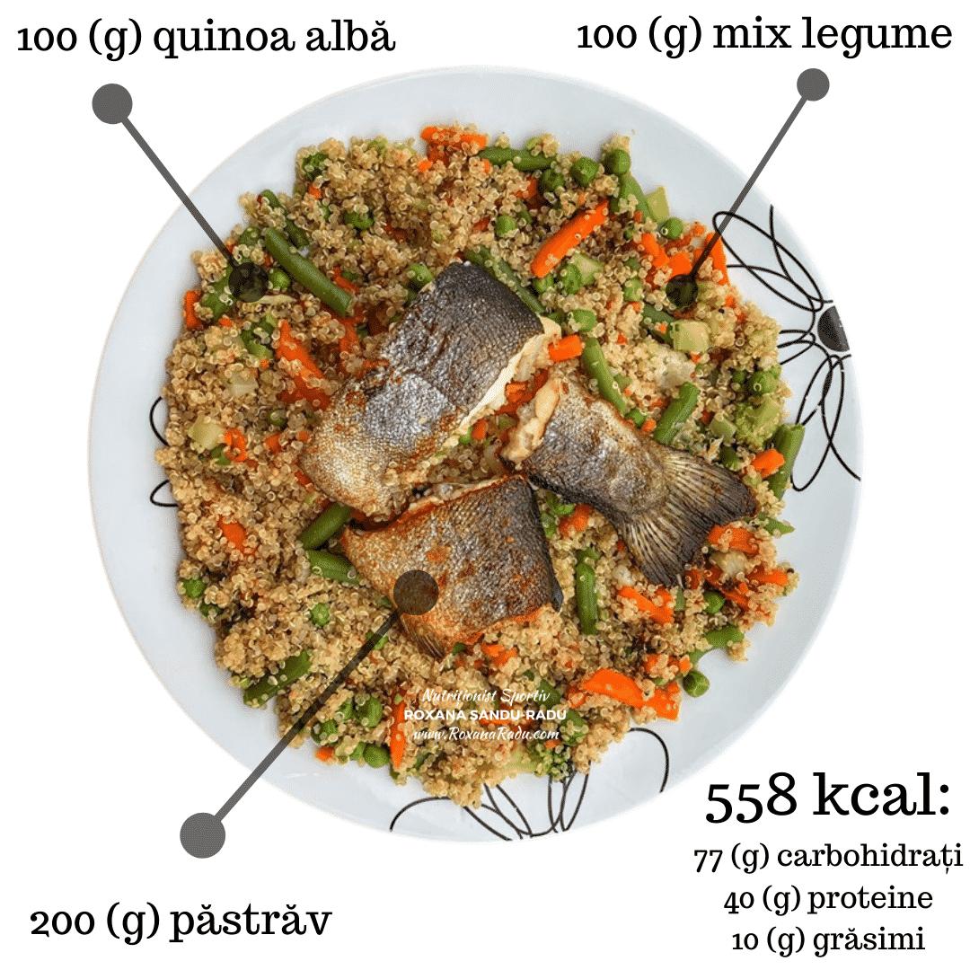 quinoa alba, legume, pastrav, 558 kcal