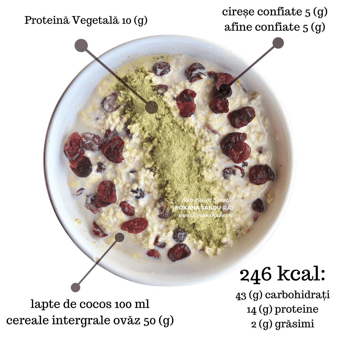 cereale integrale din ovaz, lapte de cocos, pudra vegetala, afine si cirese confiate, 246 kcal