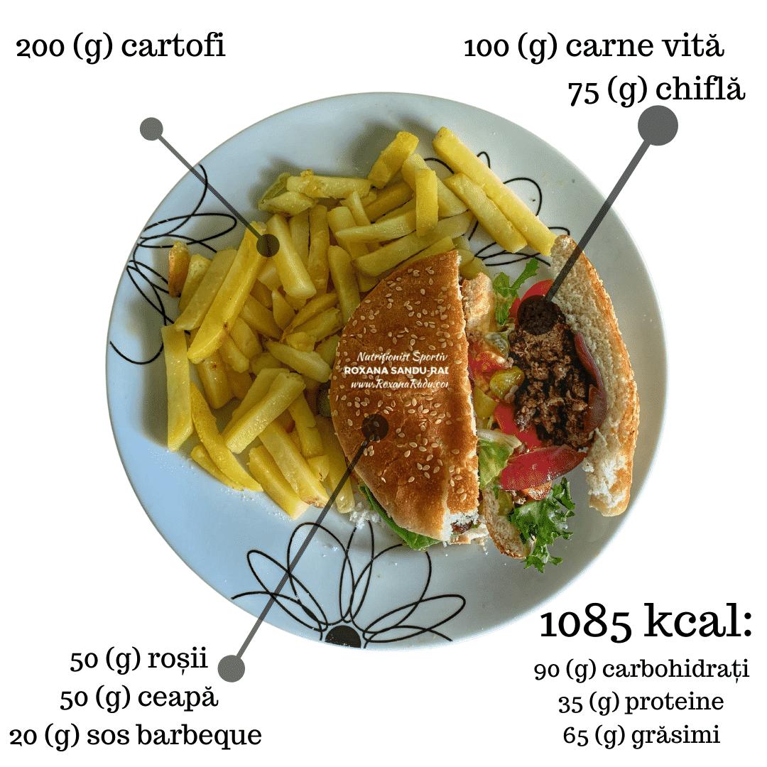 Homemade burger si cartofi, 1085 kcal