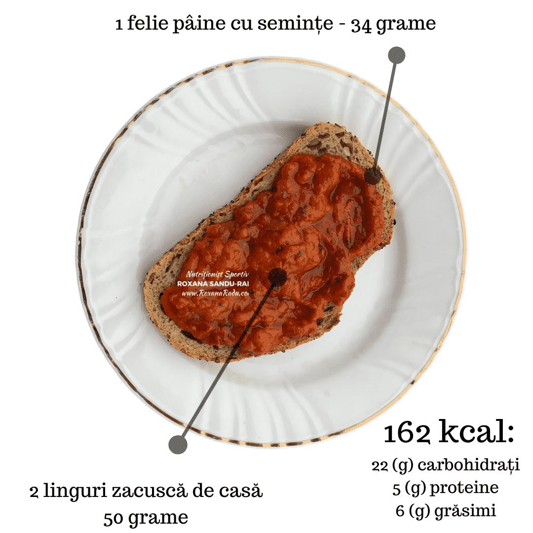 mic dejun cu zacusca, 162 kcal